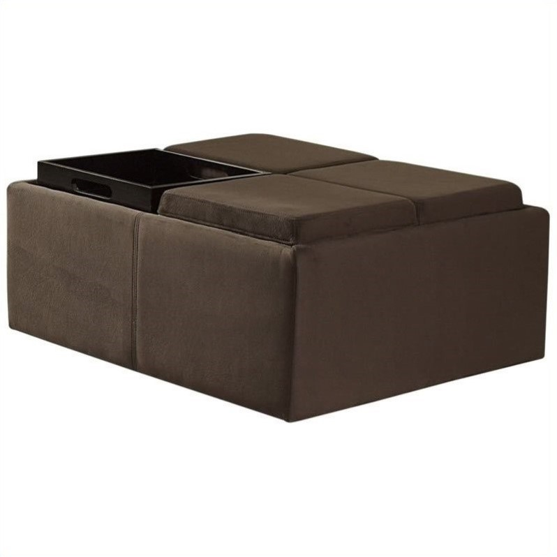 Trent Home Cocktail Ottoman with 4 Tray Inserts in Mocha Microfiber