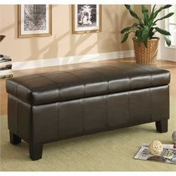 Trent Home Clair Lift Top Faux Leather Storage Bench in Dark Brown