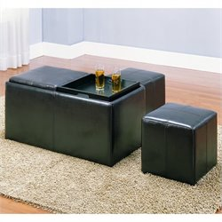 Trent Home Claire Faux Leather Storage Ottoman Bench in Dark Brown