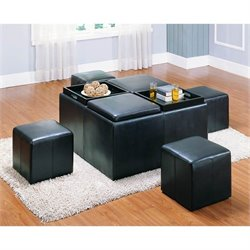 Trent Home Claire Storage Faux Leather Cocktail Ottoman in Dark Brown