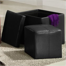 Trent Home Ladd Faux Leather Storage Cube Ottoman in Black