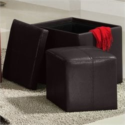 Trent Home Ladd Faux Leather Storage Cube Ottoman in Brown