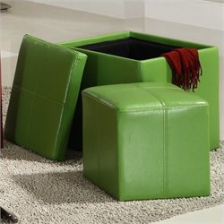 Trent Home Ladd Faux Leather Storage Cube Ottoman in Green