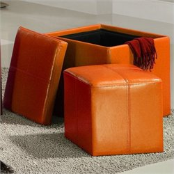 Trent Home Ladd Faux Leather Storage Cube Ottoman in Orange