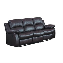 Trent Home Cranley Double Reclining Leather Sofa in Brown
