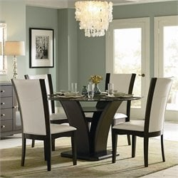 Trent Home Daisy Round Glass Dining Table in Espresso Finish