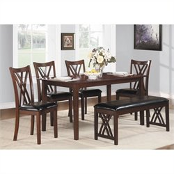 Trent Home Brooksville 6 Piece Dinette Table Set in Warm Cherry