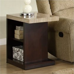 Trent Home Mooney End Table in Dark Cherry