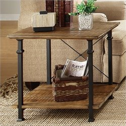 Trent Home Factory End Table in Rustic Brown