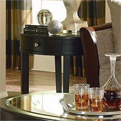Trent Home Brooksby End Table with Mirror Top in Ebonized Cherry