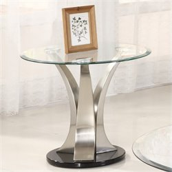 Trent Home Charlaine Glass Top Round End Table