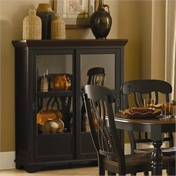 Trent Home Ohana Curio Cabinet in Antique Black and Warm Cherry