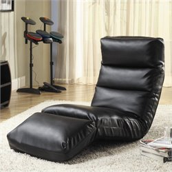 Trent Home Gamer Faux Leather Floor Lounge Chair in Black