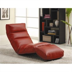 Trent Home Gamer Faux Leather Floor Lounge Chair in Red