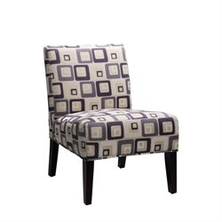 Trent Home Lifestyle Armless Accent Chair in Blue Geometric Pattern