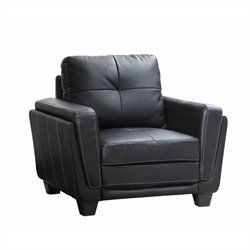 Trent Home Dwyer Faux Accent Leather Chair in Black