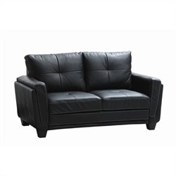 Trent Home Dwyer Loveseat in  Black Vinyl