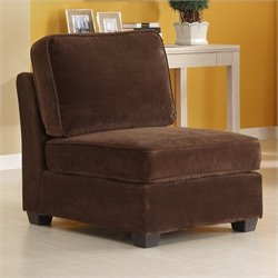 Trent Home Burke Modular Armless Single Chair in Dark Brown