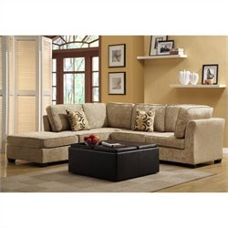 Trent Home Burke 5 Piece Sectional in Brown Beige Chenille