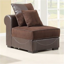 Trent Home Lamont Modular Armless Chair in Chocolate Corduroy