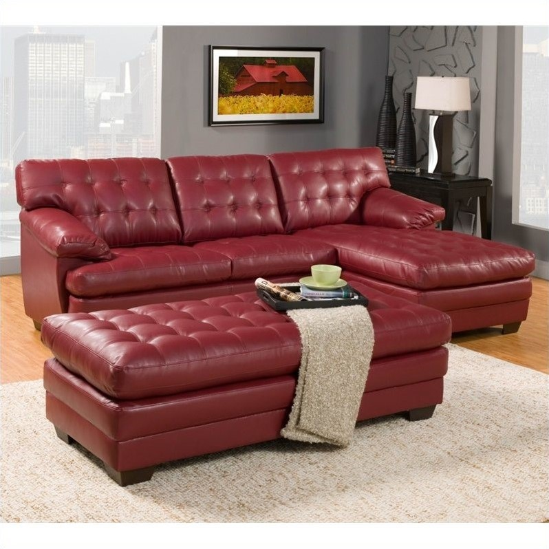 Trent Home Brooks Leather Oversized Tufted Cocktail Ottoman in Red