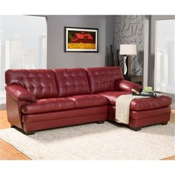 Trent Home Brooks Oversized Tufted 2 Piece Leather Sectional in Red