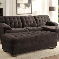 Trent Home Brooks Oversized Tufted Cocktail Ottoman in Chocolate