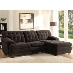 Trent Home Brooks Oversized Tufted 2 Piece Sectional in Chocolate