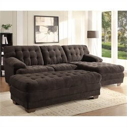 Trent Home Brooks Oversized Tufted 3 Piece Sectional in Chocolate