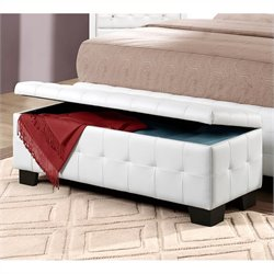 Trent Home Sparkle Lift Top Storage Bench Ottoman in White
