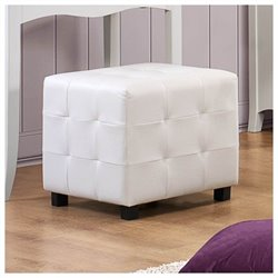 Trent Home Sparkle Faux Leather Cube Ottoman in White