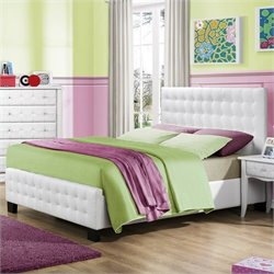 Trent Home Sparkle Tufted Upholstered Bed in White