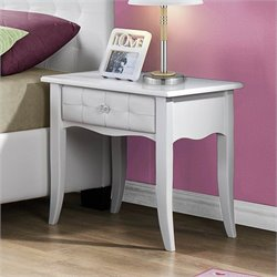 Trent Home Sparkle Tufted 1 Drawer Nightstand in White