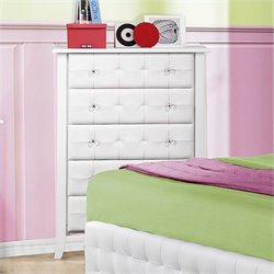 Trent Home Sparkle Tufted 5 Drawer Chest in White