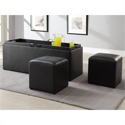 Trent Home Blasey Faux Leather Storage Bench with 2 Ottomans