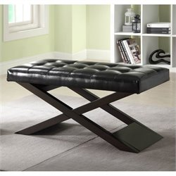 Trent Home Natalia X-Bench Ottoman in Black