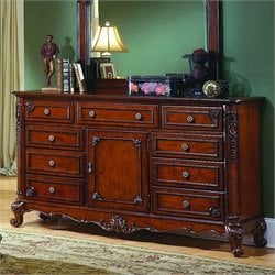 Trent Home Madaleine Triple Dresser in Antique Cherry