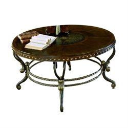 Trent Home Copeland Round Wood Top Cocktail Table in Iron Finish