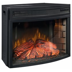 Curved Fireplace Insert in Black