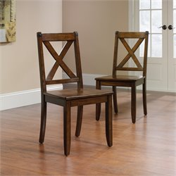Sauder Carson Forge X Back Chair in Mahogany (Set of 2)