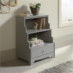 2 Shelf Accent Bookcase in Gray