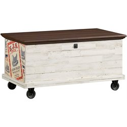 Rolling Trunk Coffee Table in White Plank