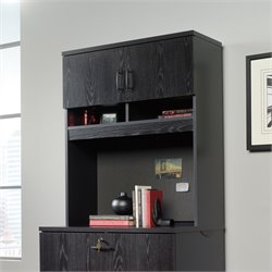Sauder Via Lateral File Cabinet with Hutch in Bourbon Oak