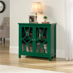 Sauder Palladia Accent Curio Cabinet in Emerald Green
