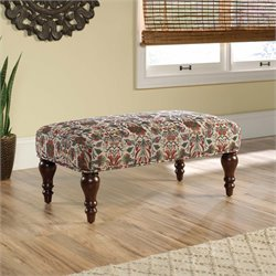 Sauder Viabella Accent Bench in Stylized Floral Pattern Fabric