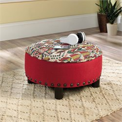 Sauder Viabella Ottoman in Red Fabric