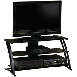 Sauder Deco Glass Panel TV Stand in Black