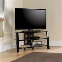 Sauder Mirage Panel TV Stand in Black