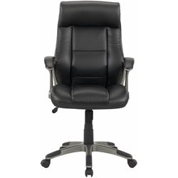 Sauder Gruga Leather Manager Chair in Black