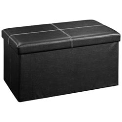 Sauder Beginnings Large Faux Leather Storage Ottoman in Black